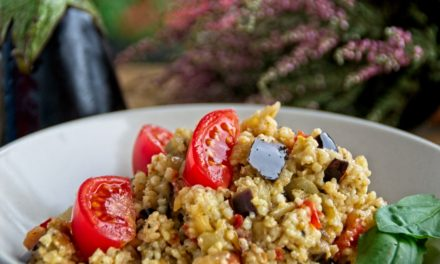 Millet with aubergine and tomato