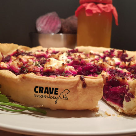 EASY BEET TART WITH FETA AND HONEY MUSTARD
