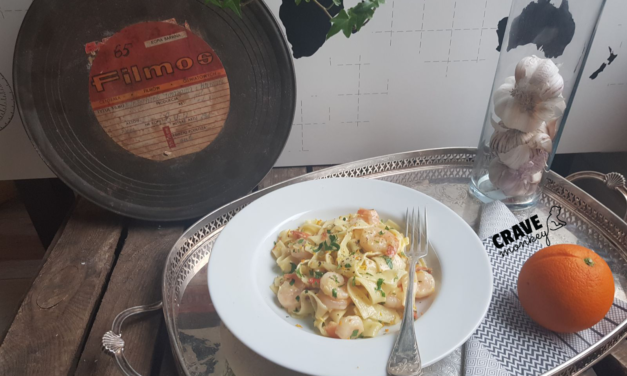 ORANGE, WHITE WINE, AND SHRIMP TAGLIATELLE