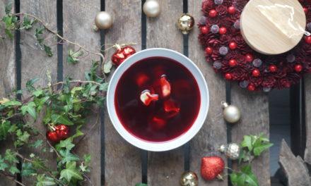 Christmas red borscht
