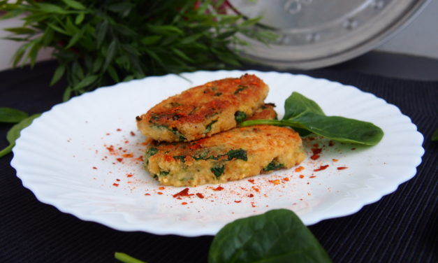Millet croquettes stuffed with spinach and cheese