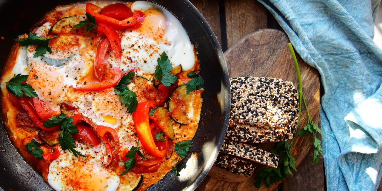 Shakshuka with courgette and bell pepper