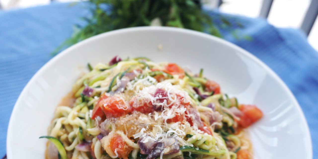 Garlic courgette spaghetti (Zucchini noodles – zoodles)