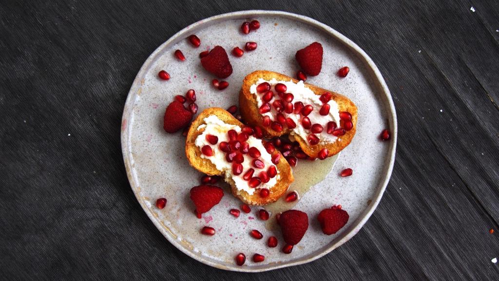Challah toast with tahini and ricotta