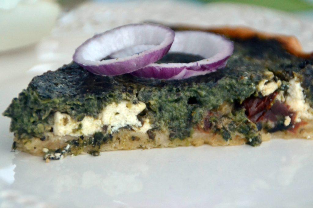 Spinach, sun-dried tomato and feta tart