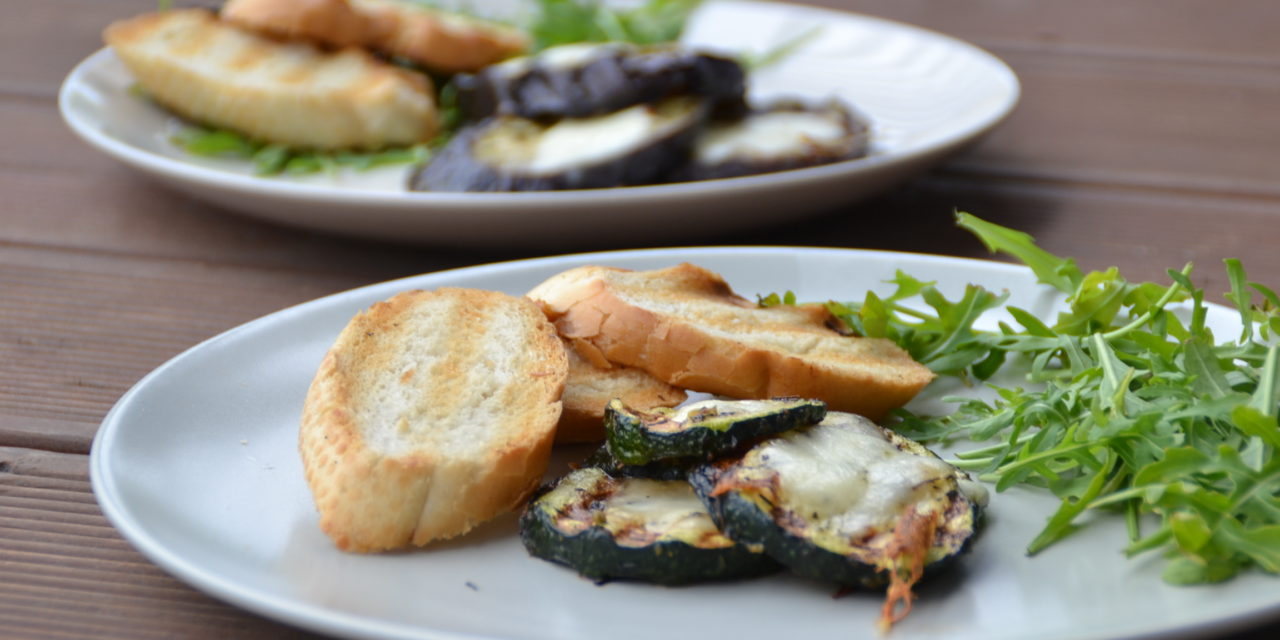 Grilled aubergine and courgette with mozzarella cheese