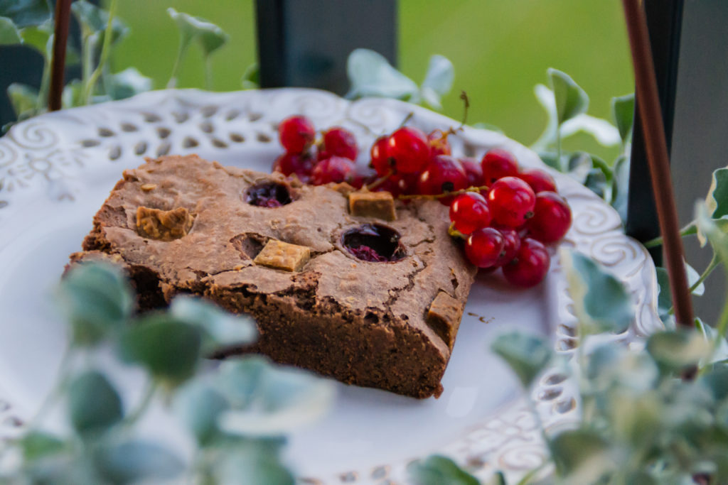 brownie with red currant