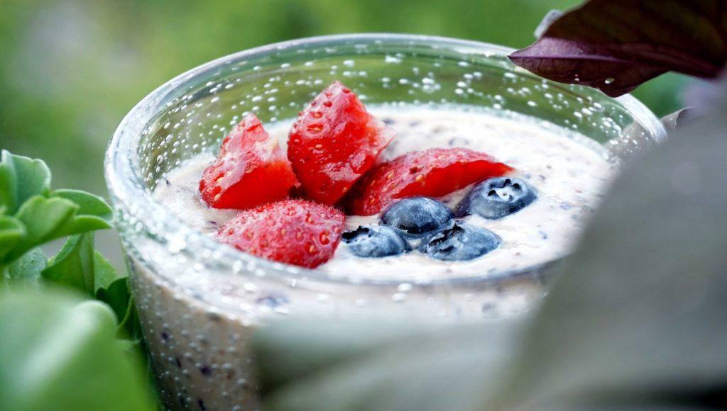 Blueberry and banana milkshake